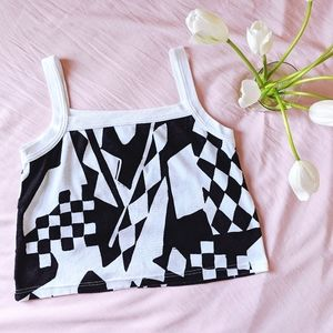 black & white baggy oversized cropped tank top